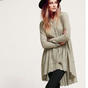 Free People Eyelet Lace High-Low Duster Cardigan